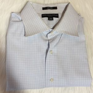 Saks Fifth Avenue blue and white plaid shirt, 17.5